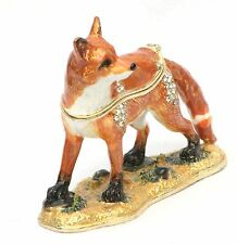 Fox Design Enamel Pill Trinket Jewelled Box Collectable Presentation Boxed