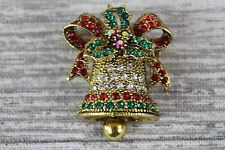 Multi Coloured Rhinestone Crystal Christmas Bell Gold Pin Brooch