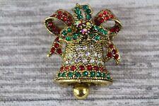 Multi Colore Strass Cristallo Natale Bell Gold Pin Spilla