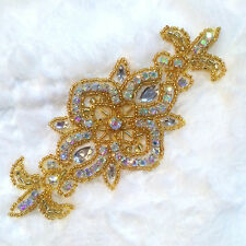 ACT/XR75 Gold Beaded Crystal AB Aurora Borealis Rhinestone Applique 5.75""