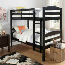 Wood Bunk Bed Twin over Twin Convertible Bunkbeds Kids Ladder Furniture Black