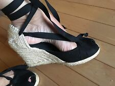 Castaner Black Satin Espadrille Wedge Sandals Ribbon Ankle Wrap Size 37 US 6.5
