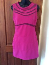 Gorgeous Sexy DESIGNER Deep Pink Dress Small Mesh Panelled Bodycon