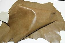 Italian thick strong Goatskin leather skins hides PATENT CAMEL DISTRESSED 6sqf