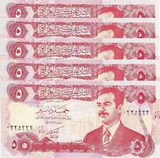 IRAQ 5 DINAR 1992 UNC 5 PCS LOT P.80 WITH SADDAM HUSSEIN