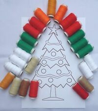 Punch Needle Embroidery yarn 24 acrylic pack Christmas colours & free transfer