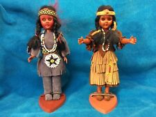 2 CARLSON DOLLS, native American dolla,indian princess 1960s suede dress