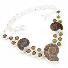 Valentine's Best seller Genuine Ammonite Fossil Gemstone Silver Necklace Pendant