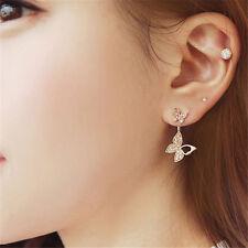 1 Paire Boucles d'Oreille Modèle de Deux Papillons avec Strass Accessoire Bijoux