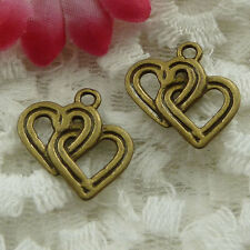 Free Ship 210 pieces bronze plated heart charms 18x18mm #1116