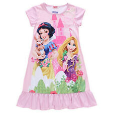 Lovely Girls Kids Disney Princess Dress Top Pyjamas Nightdress Nightie Nightwear