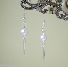 Pretty Pearl Bead Silver Spike Charm Dangly Drop Earrings