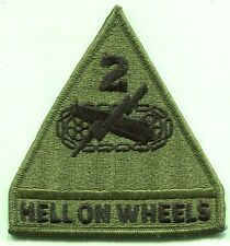 US Army 2nd Armored Hell on Wheels OD Subdued Patch New