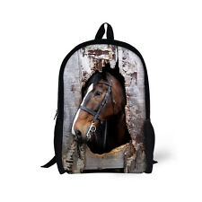 Cool Animal Horse Boy's Girl's Backpack School Travel Bag Student Back to School