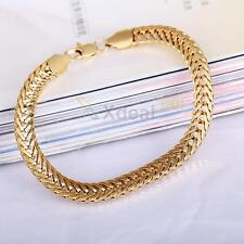 18K Yellow Gold Filled Unisex Bracelet Curb Chain Link Fashion Bangle Jewelry
