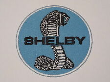 MOTORSPORTS RACING CAR SEW ON / IRON ON PATCH:- SHELBY (c) COBRA LIGHT BLUE DISC
