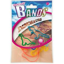 Kids Elastic Bands Wacky Lacky Fun Party Toy Shapes Childrens Dinosaurs 12 Pack