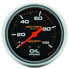 "Autometer Pro-Comp 2-5/8"" Liquid Filled Mechanical Oil Pressure Gauge 100 Psi"