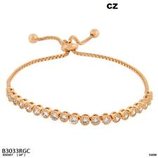 Adjustable Rose Gold Tone Bracelet with Clear CZ Cubic Zirconia Stones