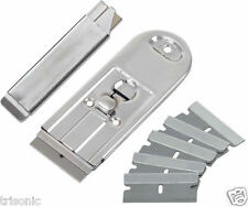 8 PC RETRACTABLE SAFETY WINDOW SCRAPER AND CARTON CUTTER KNIFE WITH SIX BLADES