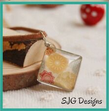 Fresh Look Double Sided Glass Pendant on Faux Leather -free Postage- New