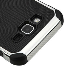 for Samsung Galaxy On5 PHONE Black Dots Silver Plating HYBRID SKIN COVER CASE