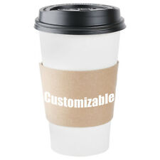 Pack of 50 Kraft CUSTOMIZABLE Coffee Jacket / Sleeve for Paper Hot / Coffee Cup