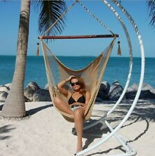New Large Caribbean Hammock Chair Soft Spun Polyester- Tan- NO stand included