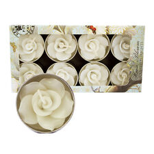Pack of 8 Handmade White Rose Tealights Scented Indian Jasmine
