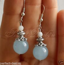 925 Sterling Silver Hook Light Blue Candy Jade & Amazonite  Earrings