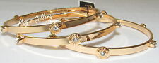 GUESS Jeans Rhinestones Bangle Bracelet Logo Gold Tone Charms NWT set of  3