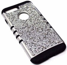 For iPhone 7 PLUS - Silver 3D Rhinestones Bling Hard Soft Hybrid Protective Case