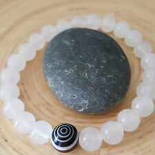 Ice Light White Jade Spiral Evil Eye Protection Beaded Bracelet