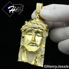 MEN 925 STERLING SILVER LAB DIAMOND ICED BLING BIG GOLD JESUS FACE PENDANT*GP143