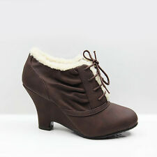 WOMENS LADIES FUR LINED CHUNKY WEDGE HEEL LACE UP BOOTS BOOTIES SHOES SIZE 3-8