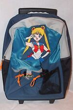"NEW WITH TAGS  VINTAGE SAILOR MOON  BLUE  ROLLING BACKPACK 17"" X 12"""