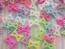 100 Mini Pastel Pearly Craft Bow/Pearl Embellishment/Wedding/trim/sewing B73-Mix