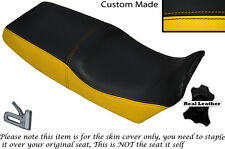 BLACK & YELLOW CUSTOM FITS BMW K1 1000 88-93 DUAL LEATHER SEAT COVER ONLY