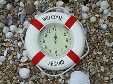 Life Ring Clock 350 mm across Welcome Aboard Ship Boat Wheel- maritime Nice Gift