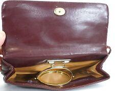 Lou Taylor Vintage 60s Burgundy Faux Leather Pivoting Mirror Shoulder Bag Purse