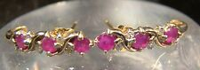 Genuine 10 K Solid Yellow Gold Diamond & Ruby Pierced Earrings