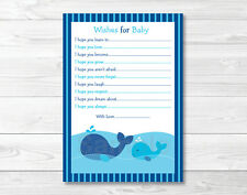 Lil Whale Nautical Printable Baby Shower Wishes for Baby Advice Cards
