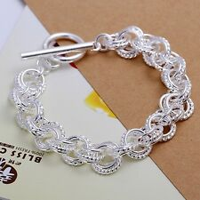 925 Sterling Silver Textured Fashion Casual Multi Chain Link T-Bar Bracelet Gift