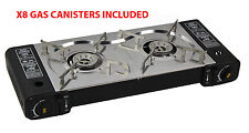 DUAL (2) HOB BURNER GAS COOKER STOVE 8 GAS CANS stainless steel burner CAMPING