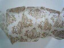 5yd Ivory Gold Damask Wired Ribbon Winter Wedding Christmas Wreath Bow Decor