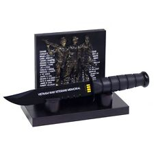 Vietnam War Veterans Memorial Plaque & Commemorative Black Survival Dagger Knife