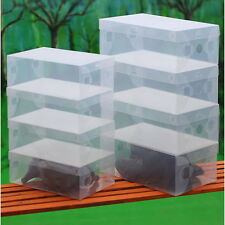 20X Transparent Clear Plastic Shoe Storage Box Foldable Stackable Boxes Lot Bulk