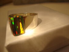 5 Bold Black Glden RlED Fire Opal Sterling Silver Ring 925 Ladies Pyramid Topper