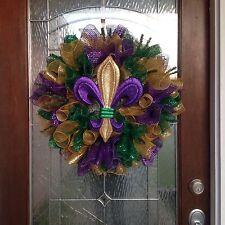 "Mardi Gras Deco Mesh Door Wreath "" FREE SHIPPING """