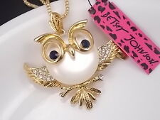 Betsey Johnson Cute inlay Crystal Opal Owl Pendant Necklace # A032